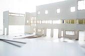 Architecture model making process using foam board and balsa wood