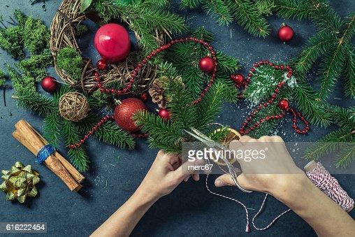 Making Christmas festive decorations : Stock Photo