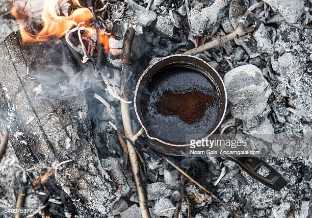 Making coffee on burning coal