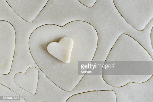 Making Cookies for Valentines Day - Dough and Heart Cookie : Stock Photo