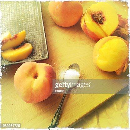 Making fresh peach cobbler : Stock Photo