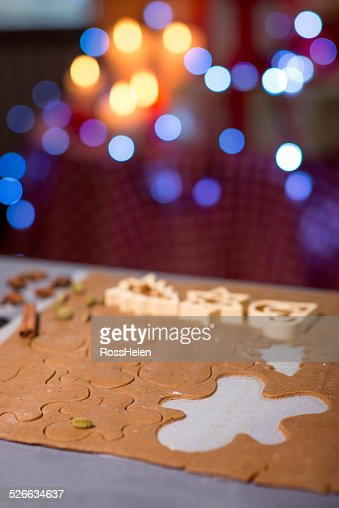 Making ginger cookies on Christmas : Stock Photo
