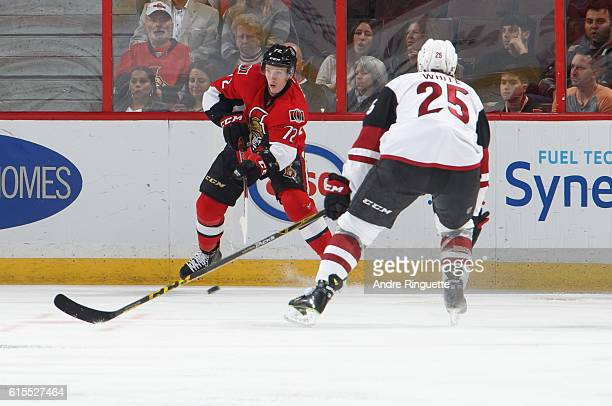 Making his NHL debut Thomas Chabot of the Ottawa Senators skates during his first shift in a game against the Arizona Coyotes at Canadian Tire Centre...