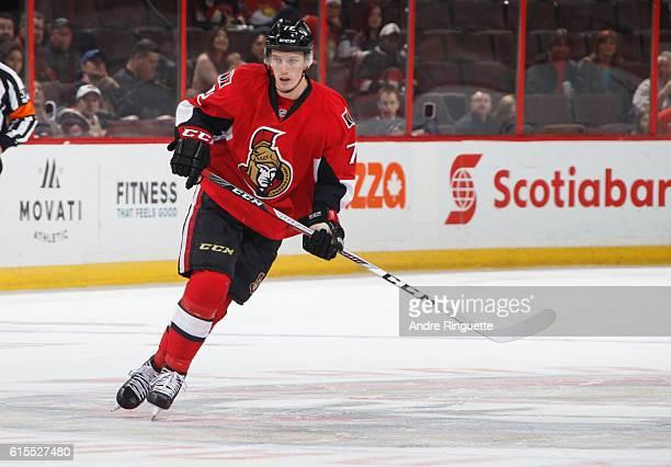 Making his NHL debut Thomas Chabot of the Ottawa Senators skates against the Arizona Coyotes at Canadian Tire Centre on October 18 2016 in Ottawa...