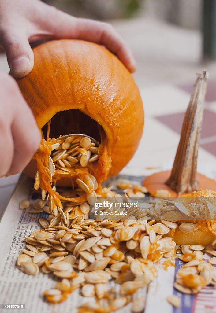 Making Jack O' Lantern on Halloween