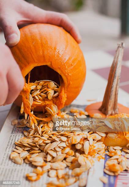 Making Jack O' Lantern on Halloween