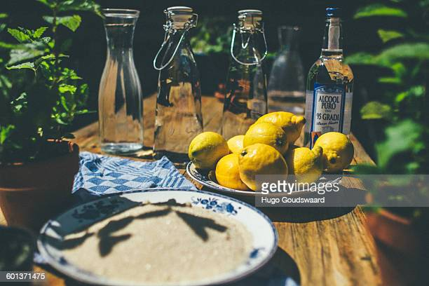 Making limoncello with citrus