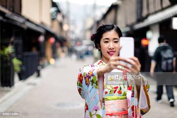 Making Memories from Japan, Japanese Girl in Kimono taking Selfie