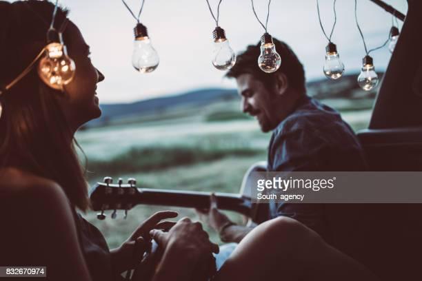 Making music in mini van trunk