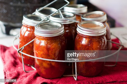 Making Plum Jam - Jars After the Boiling Water Bath