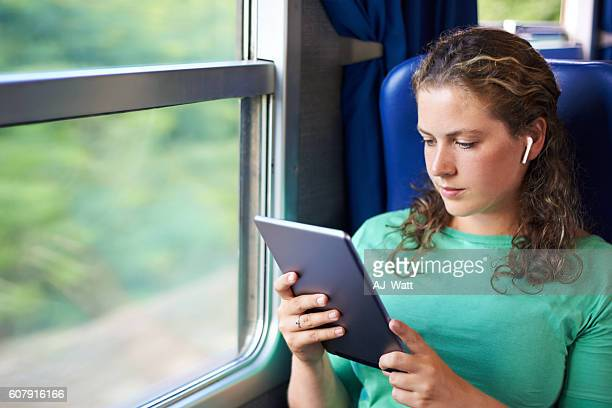 Making the most of her morning commute with wireless entertainment