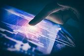 trader broker forex investment hold smartphone stock market chart screen
