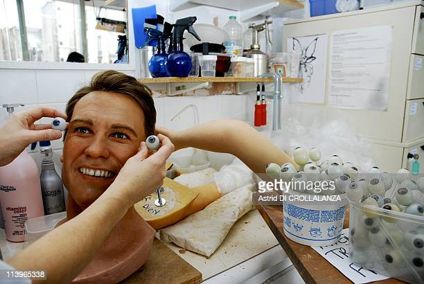 Makingoff the wax statues of Musee Grevin In Paris France On December 02 2008Choosing the eye color made with resin by an ocular prosthesis for the...