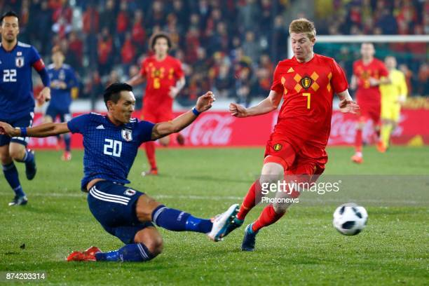 Makino Tomoaki defender of Japan and Kevin De Bruyne forward of Belgium during the World Cup Friendly Preparation match between Belgium and Japan on...