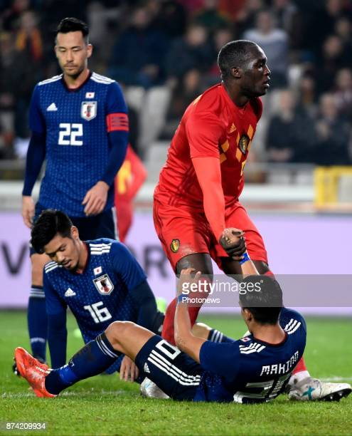 Makino Tomoaki defender of Japan and Romelu Lukaku forward of Belgium during the World Cup Friendly Preparation match between Belgium and Japan on...