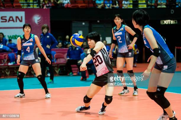 Mako Kobata of Japan controls the ball during a game against Russia at the Women's Volleyball World Grand Prix in Hong Kong on July 23 2017 / AFP...