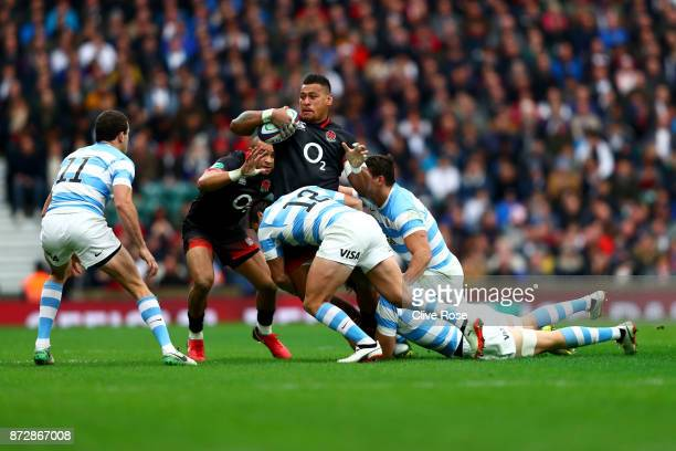 Mako Vanipula of England is tackled during the Old Mutual Wealth Series match between England and Argentina at Twickenham Stadium on November 11 2017...