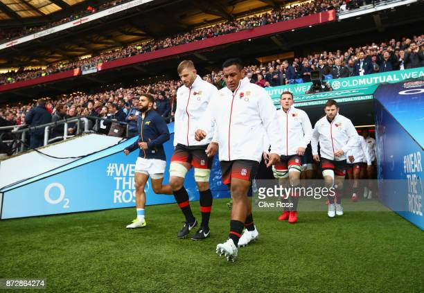 Mako Vanipula of England walks out prior to the Old Mutual Wealth Series match between England and Argentina at Twickenham Stadium on November 11...