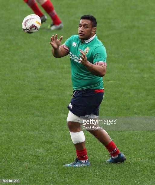 Mako Vunipola catches the ball during the British Irish Lions training session at QBE Stadium on July 6 2017 in Auckland New Zealand