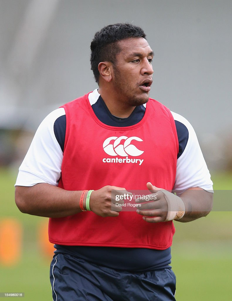 Mako Vunipola looks on during the England training session held at St Georges Park on October 29, 2012 in Burton-upon-Trent, England.