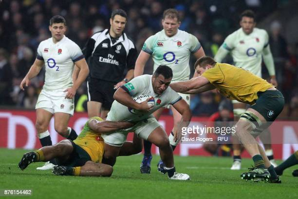 Mako Vunipola of England is tackled during the Old Mutual Wealth Series international match between England and Australia at Twickenham Stadium on...