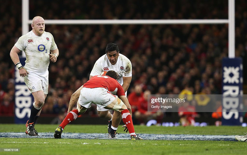 Mako Vunipola of England takes on the Welsh defence during the RBS Six Nations match between Wales and England at Millennium Stadium on March 16, 2013 in Cardiff, Wales.