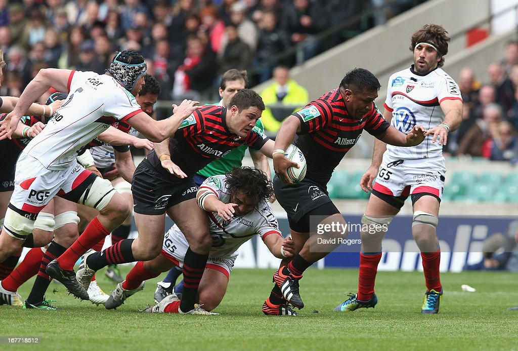 Mako Vunipola of Saracens breaks with the ball during the Heineken Cup semi final match between Saracens and Toulon at Twickenham Stadium on April 28, 2013 in London, United Kingdom.