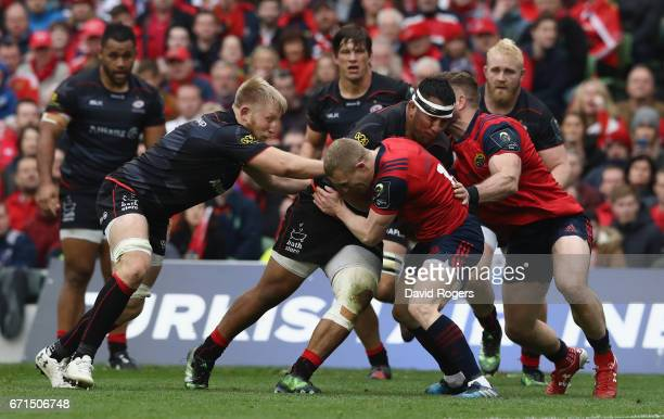 Mako Vunipola of Saracens charges upfield to score the first tyr during the European Rugby Champions Cup semi final match between Munster and...