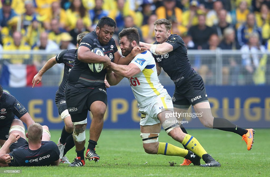<a gi-track='captionPersonalityLinkClicked' href=/galleries/search?phrase=Mako+Vunipola&family=editorial&specificpeople=4948128 ng-click='$event.stopPropagation()'>Mako Vunipola</a> of Saracens is tackled by <a gi-track='captionPersonalityLinkClicked' href=/galleries/search?phrase=Jamie+Cudmore&family=editorial&specificpeople=2160348 ng-click='$event.stopPropagation()'>Jamie Cudmore</a> during the European Rugby Champions Cup semi final match between ASM Clermont Auvergne and Saracens at Stade Geoffroy-Guichard on April 18, 2015 in Saint-Etienne, France.