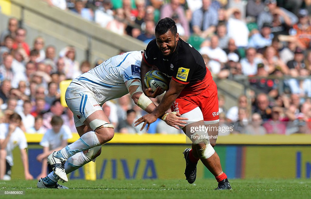 <a gi-track='captionPersonalityLinkClicked' href=/galleries/search?phrase=Mako+Vunipola&family=editorial&specificpeople=4948128 ng-click='$event.stopPropagation()'>Mako Vunipola</a> of Saracens takes on the Cheifs' defence during the Aviva Premiership final match between Saracens and Exeter Chiefs at Twickenham Stadium on May 28, 2016 in London, England.