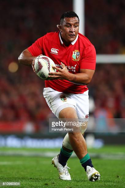 Mako Vunipola of the Lions charges forward during the Test match between the New Zealand All Blacks and the British Irish Lions at Eden Park on July...
