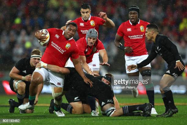 Mako Vunipola of the Lions charges upfield during the second test match between the New Zealand All Blacks and the British Irish Lions at the Westpac...