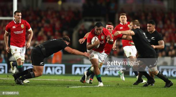 Mako Vunipola of the Lions charges upfield during the Test match between the New Zealand All Blacks and the British Irish Lions at Eden Park on July...
