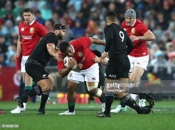 Mako Vunipola of the Lions is tackled during the match between the New Zealand All Blacks and the British Irish Lions at Westpac Stadium on July 1...