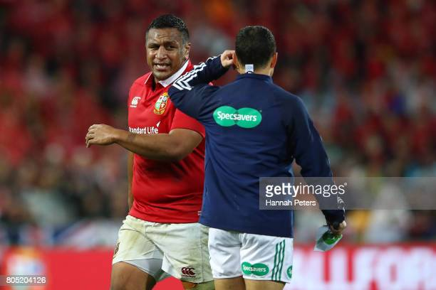 Mako Vunipola of the Lions leaves the pitch after being shown the yellow card by Referee Jerome Garces of France during the second test match between...