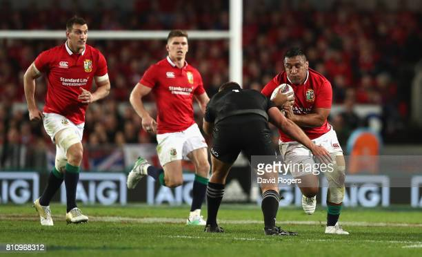 Mako Vunipola of the Lions takes on Joe Moody during the Test match between the New Zealand All Blacks and the British Irish Lions at Eden Park on...