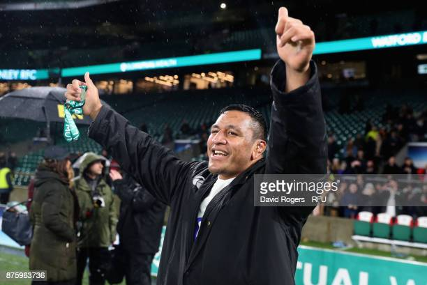 Mako Vunipola the England prop celebrates after their victory during the Old Mutual Wealth Series international match between England and Australia...