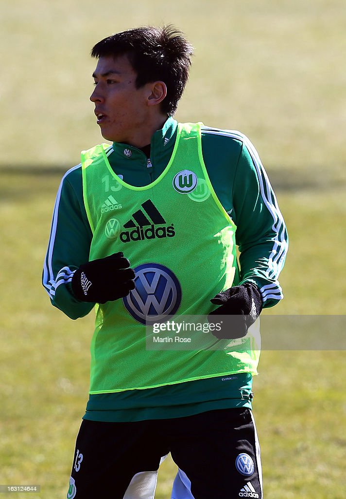 Makoto Hasebe looks on during a VfL Wolfsburg training session on March 5, 2013 in Wolfsburg, Germany.