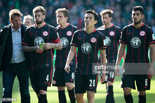 Makoto Hasebe of Frankfurt appears frustrated after the Bundesliga match SV Werder Bremen and Eintracht Frankfurt at Weserstadion on May 14 2016 in...