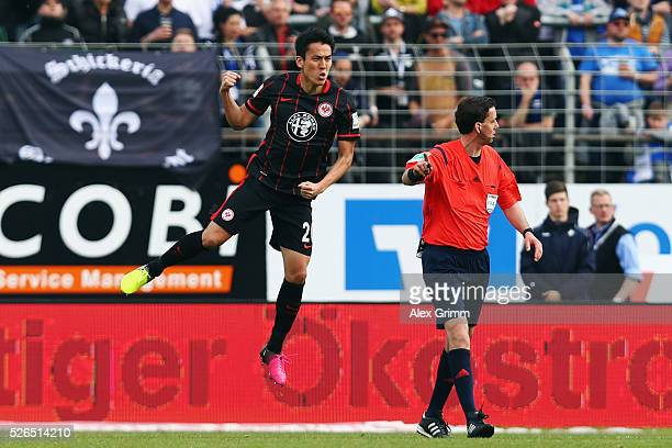 Makoto Hasebe of Frankfurt celebrates his team's first goal during the Bundesliga match between SV Darmstadt 98 and Eintracht Frankfurt at...