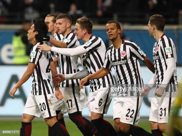 Makoto Hasebe of Frankfurt celebrates scoring his goal with teamates during the Bundesliga match between Eintracht Frankfurt and SV Darmstadt 98 at...