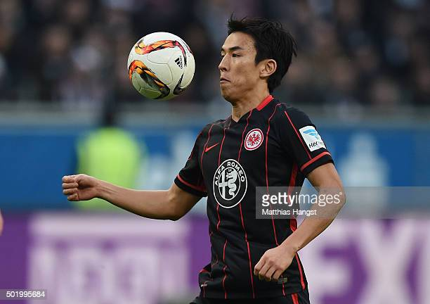 Makoto Hasebe of Frankfurt controls the ball during the Bundesliga match between Eintracht Frankfurt and Werder Bremen at CommerzbankArena on...