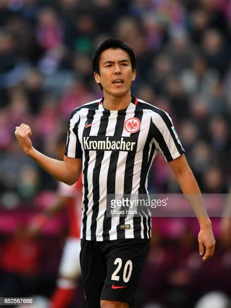 Makoto Hasebe of Frankfurt in action during the Bundesliga match between Bayern Muenchen and Eintracht Frankfurt at Allianz Arena on March 11 2017 in...