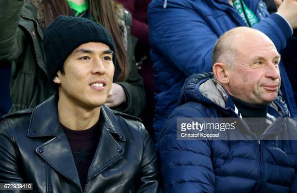 Makoto Hasebe of Frankfurt is seen during the DFB Cup semi final match between Borussia Moenchengladbach and Eintracht Frankfurt at BorussiaPark on...
