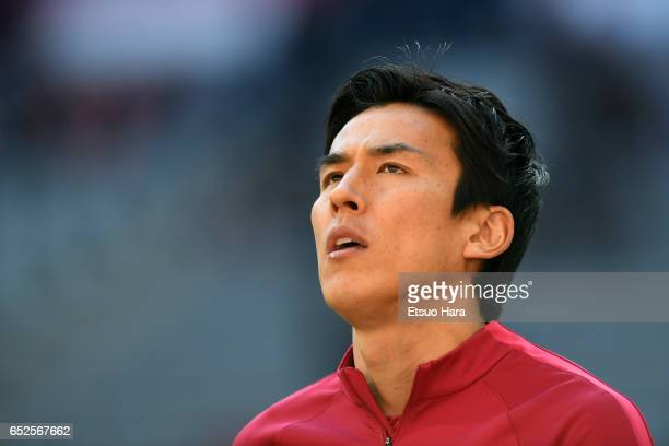 Makoto Hasebe of Frankfurt warms up prior to the Bundesliga match between Bayern Muenchen and Eintracht Frankfurt at Allianz Arena on March 11 2017...