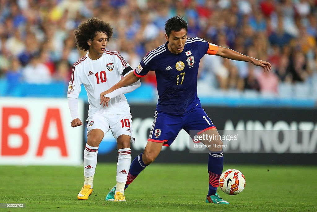<a gi-track='captionPersonalityLinkClicked' href=/galleries/search?phrase=Makoto+Hasebe&family=editorial&specificpeople=876998 ng-click='$event.stopPropagation()'>Makoto Hasebe</a> of Japan competes with <a gi-track='captionPersonalityLinkClicked' href=/galleries/search?phrase=Omar+Abdulrahman&family=editorial&specificpeople=6420654 ng-click='$event.stopPropagation()'>Omar Abdulrahman</a> of the United Arab Emirates during the 2015 Asian Cup Quarter Final match between Japan and the United Arab Emirates at ANZ Stadium on January 23, 2015 in Sydney, Australia.