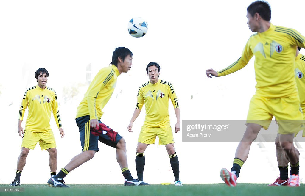 <a gi-track='captionPersonalityLinkClicked' href=/galleries/search?phrase=Makoto+Hasebe&family=editorial&specificpeople=876998 ng-click='$event.stopPropagation()'>Makoto Hasebe</a> of Japan in action during the training session ahead of the World Cup qualifier against Jordan at King Abdullah International Stadium on March 25, 2013 in Amman, Jordan.