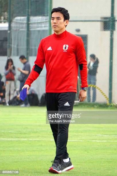 Makoto Hasebe of Japan is seen at a training session prior to his withdrawal ahead of the World Cup qualifier on March 20 2017 in Al Ain United Arab...