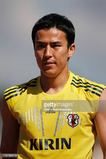 Makoto Hasebe of Japan looks on after the Japan Training Session at the Confderations Cup 2013 at Centro de Capacitacao Fisica dos Bombeiros or...