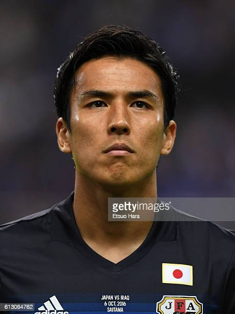 Makoto Hasebe of Japan looks on making his 100th international appearance prior to the 2018 FIFA World Cup Qualifiers match between Japan and Iraq at...